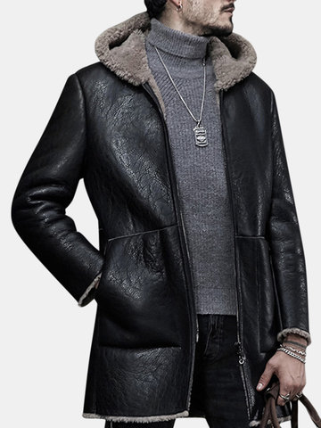 Men Casual Fleece Hooded Leather Shearling Jackets