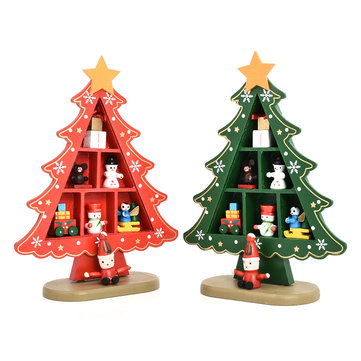 DIY Cartoon Wooden Artificial Christmas Tree, Red green