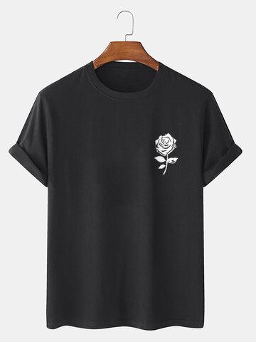 Rose Chest Print 100% Cotton T-Shirts