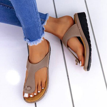 Solid Color Clip Toe Wedges Slippers