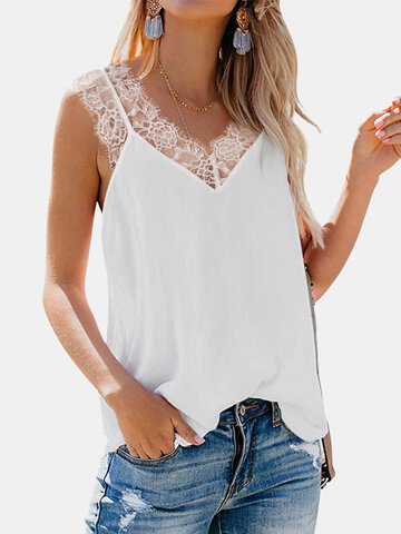 Lace Patchwork Tank Tops