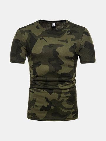 Camisas de algodão casuais de verão Camo