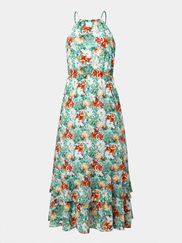 Flower Halter Layered Drawstring Dress