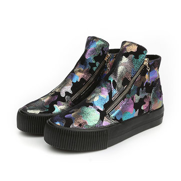 M.GENERAL Graffiti High Top Colorful Painting Style Zipper Shoes For Women