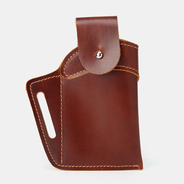 Men Genuine Leather 6.3 Inch EDC Retro Short Cell Phone Case Belt Bag