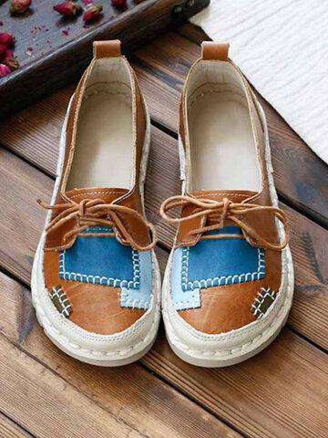 Zapatos planos con cordones de costura de empalme de color suave