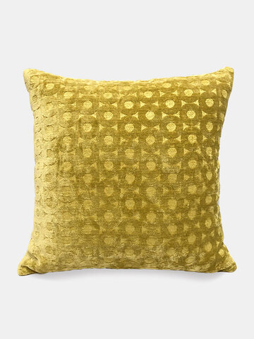 Solid Color Chenille Geometric Jacquard Circle Sofa Pillow Office Nap Pillow Bedroom Car Cushion Cover