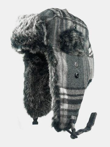 Men Plaid Pattern Cold-proof Winter Trapper Hat