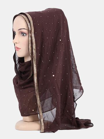 Muslim Hijab Scarf Chiffon Beaded Long Scarf