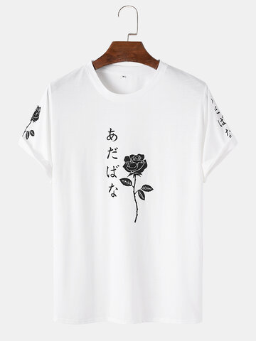 Rose Print Japanese Characters T-Shirt