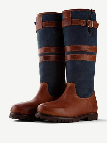Splicing Buckle Casual Riding Boots