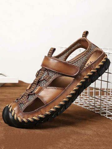 Men Hand Stitching Leather Sandals