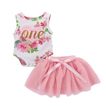 Conjuntos de falda floral de chicas para 0-24M