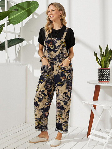Vintage Butterfly Print Casual Jumpsuit