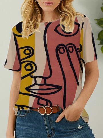 Abstract Modello T-shirt con scollo a O