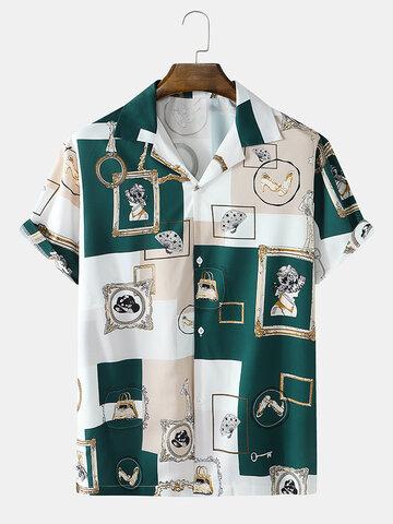 Camisas vintage com impressão em bloco de cor barroca