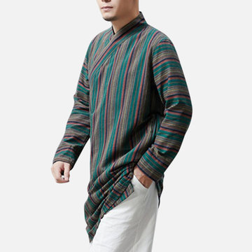Chinese Style Linen Colorful Striped Mid-long Jacket