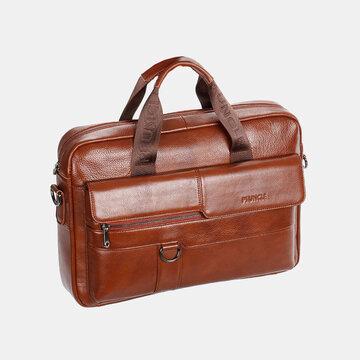 حقيبة كروسبودي جلد طبيعي عتيقة كبيرة سعة