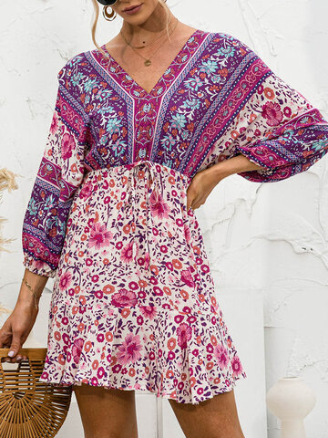 Knotted Floral Print Bohemian Dress