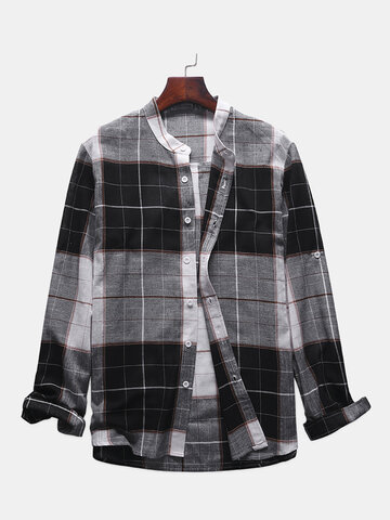 Plaid Stand Collar Long Sleeve Camisa
