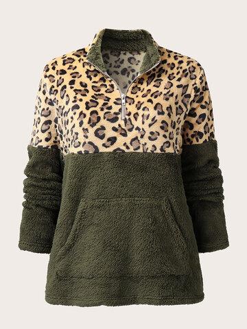 Leopard Pattern Patchwork Fluffy Sweatshirt