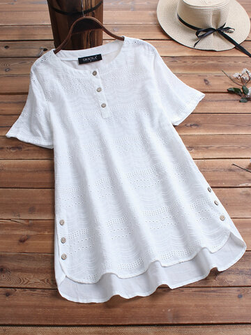 Bohemian Embroideried Short Sleeve Blouse