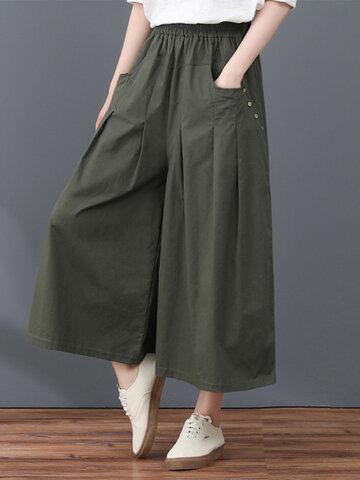 Button Slant Pocket Wide Leg Pants
