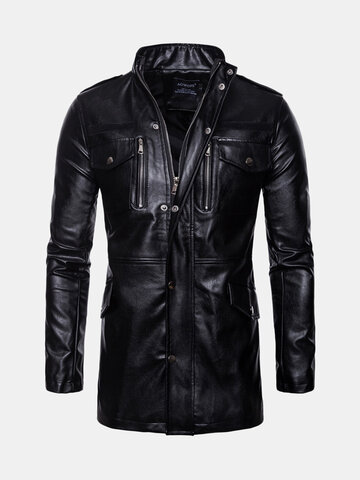 Retro Stand Collar Leather Mid-Long Jacket