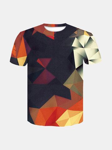 T-shirts imprimés géométriques 3D pour hommes
