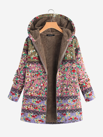 Floral Print Hooded Vintage Coats