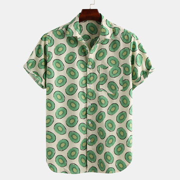 Mens Funny Kiwifruit Printed Casual Shirts