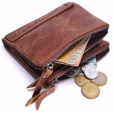Men Genuine Leather Zipper Short Wallet