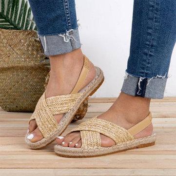 Straw Braided Fishermen Flat Sandals
