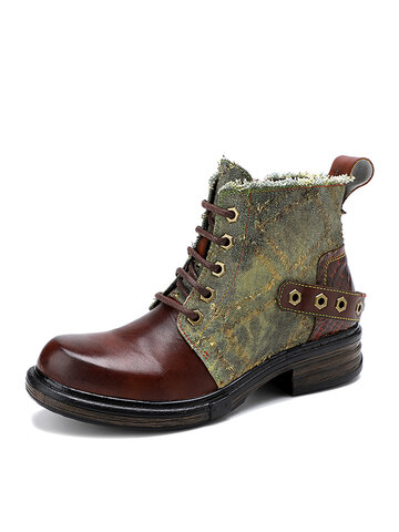 Socofy Vintage Leather Patchwork Combat Boots