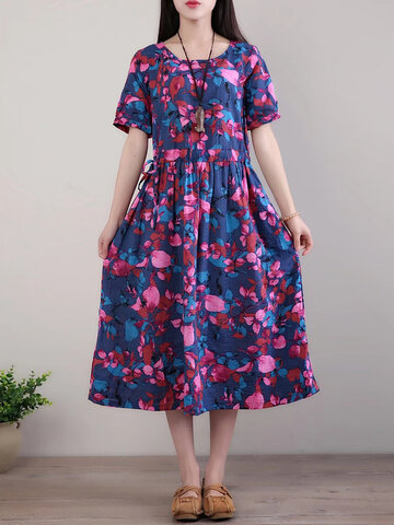 O-NEWE Floral Printed Short Sleeves O Neck Dresses For Women