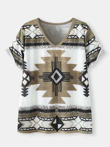 Geometric Ethnic Pattern Loose T-Shirt