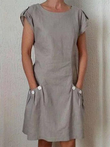 Pockets Buttoned Casual Dress