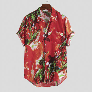Mens Abstract Graffiti PrintedLoose Shirts