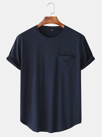 Cotton Plain Chest Pocket Home Casual T-Shirt