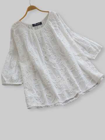 Embroidery Bubble Sleeve Blouse