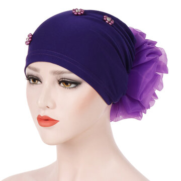 Solid Color Beaded  Cotton Cap