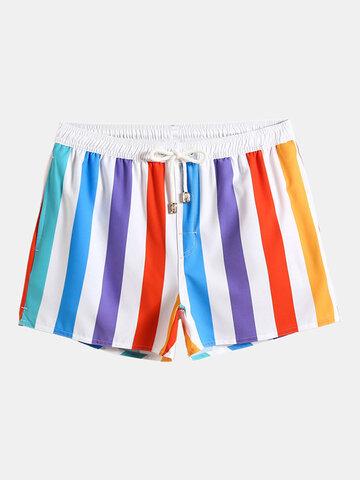 Colorful Stripe Swim Shorts