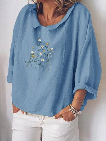 Flowers Print 3/4 Sleeve Loose Blouse