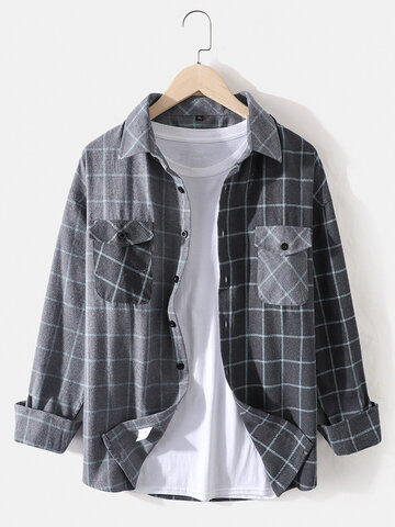 Plaid Patchwork Cotton Shirts