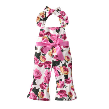 Floral Girls Casual Jumpsuits 1Y-7Y