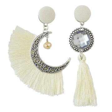 Moon Drop Tassel Earrings