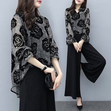 Loose Flocking Flower Coat Wide-leg Pants Two-piece Suit