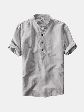 Chinese Style Linen Vintage T Shirt, White navy gray green sky blue
