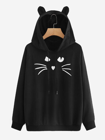 Print Cat Hooded Sweatshirt