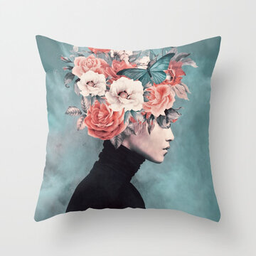 New Print Woman Flower Head Avatar Pillowcase